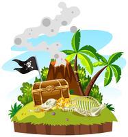 Île au trésor avec coffre et or