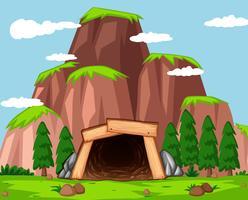 Entrée de la mine à la montagne vecteur