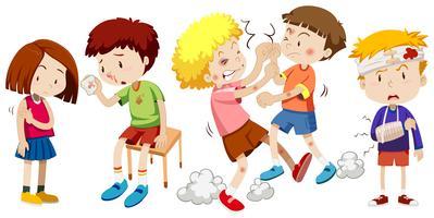 Un groupe d'enfants attrape la douleur vecteur