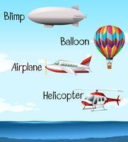 Différents types d'embarcations aériennes