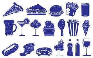 Conception de griffonnage des différents aliments et boissons vecteur