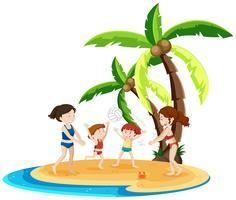 Les enfants jouent au volleyball sur l'île vecteur
