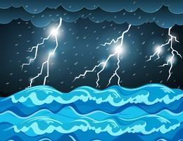 Orage à la mer vecteur