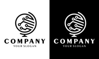 création d'icône de logo de globe de technologie créative. éléments de technologie de circuit. icône électronique. technologie des logos. vecteur