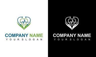 logo et coeur de stéthoscope, icône de coeur avec stéthoscope. centre de soins de cardiologie, logo de la clinique. logo médical vecteur
