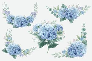 bouquets de fleurs d'hortensia bleu vecteur