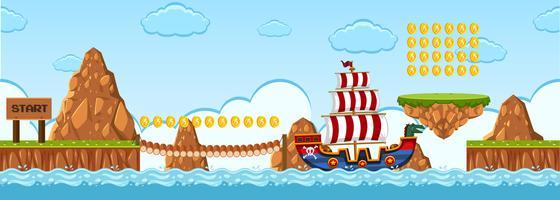 Une scène de pirate de modèle de jeu vecteur