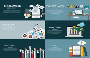 bannière de design plat moderne pour votre entreprise avec programmation, lieu de travail moderne, actualités en ligne, services bancaires sur Internet, services mobiles et illustration vectorielle de livre électronique vecteur