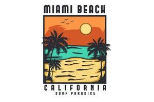 conception d'illustration dessinée à la main de la plage de miami en californie vecteur