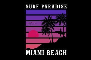 surf paradis miami plage silhouette conception vecteur