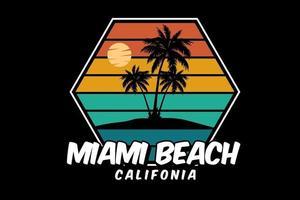 miami beach californie silhouette design rétro style vecteur