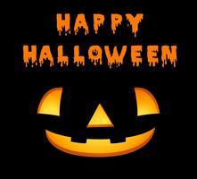 Modèle de carte halloween heureux avec jack-o-lantern vecteur