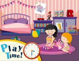 Jeunes filles jouent le temps
