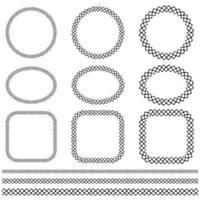 cadre de point de croix vectoriel noir dessiné à la main et motifs de bordure