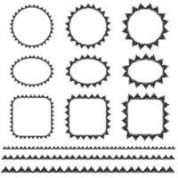 motifs de cadre et de bordure décoratifs vectoriels dessinés à la main noire vecteur