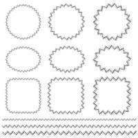 motifs de bordure et de cadre vectoriel de couture dessinés à la main noire