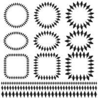 motifs de cadre et de bordure de point de diamant dessinés à la main noire vecteur