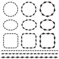motifs de bordure et de cadre vectoriel brodés dessinés à la main noire