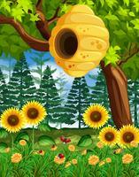 Scène avec ruche sur l'arbre vecteur