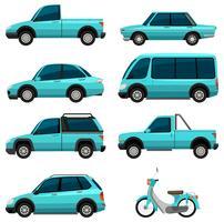Différents types de transports en couleur bleu clair