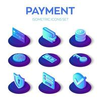 Les paiements en ligne sont définis. Icônes de paiements mobiles isométriques 3D. vecteur