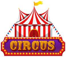Une bannière de cirque sur fond blanc