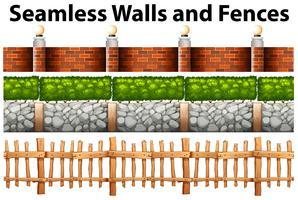 Murs et clôtures sans couture dans de nombreux modèles vecteur