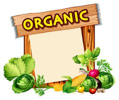 Signe bio avec mélange de légumes vecteur