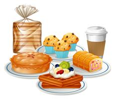 Ensemble de nourriture de petit déjeuner vecteur