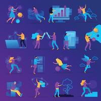 jeu d'icônes plat de réalité virtuelle illustration vectorielle vecteur