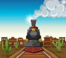 Trajet en train dans la ville du désert vecteur