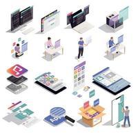 développement d'applications icônes isométriques vector illustration