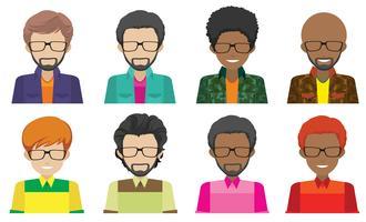 Huit hommes sans visage vecteur