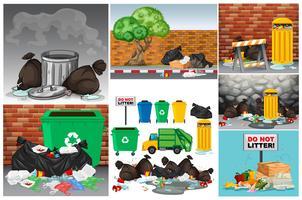 Scènes de la route avec des ordures et des poubelles vecteur