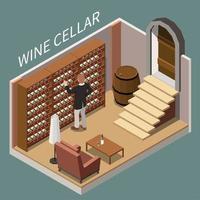 cave à vin composition isométrique vector illustration