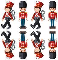 Soldats miniatures dans différentes positions vecteur