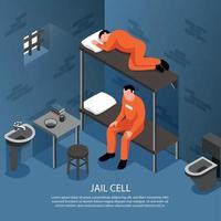 cellule de prison illustration isométrique illustration vectorielle vecteur