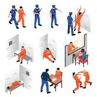 illustration vectorielle de prison ensemble isométrique vecteur