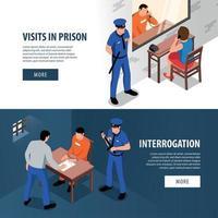 illustration vectorielle de bannières isométriques de prison vecteur