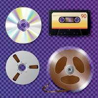 magnétophone cd et bobine bande vector illustration