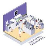 illustration vectorielle de composition isométrique de laboratoire de génie biologique vecteur