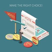 illustration vectorielle d'affiche isométrique de vote aux élections vecteur