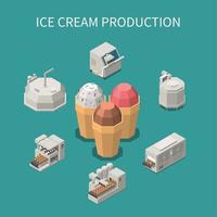 production de crème glacée fond isométrique vector illustration