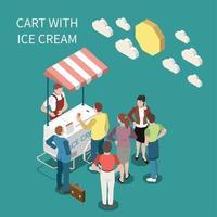chariot de crème glacée fond isométrique vector illustration