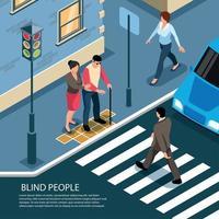 personnes aveugles composition isométrique vector illustration