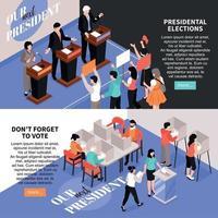 bannières horizontales d'élections set vector illustration