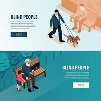 les personnes aveugles bannières isométriques vector illustration