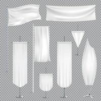 Fanions maquette réaliste set vector illustration