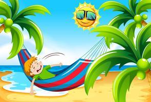 Garçon ayant un coup de chaleur à la plage vecteur