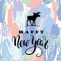 Bonne année. Dessin de calligraphie de lettrage de vecteur sur artistique